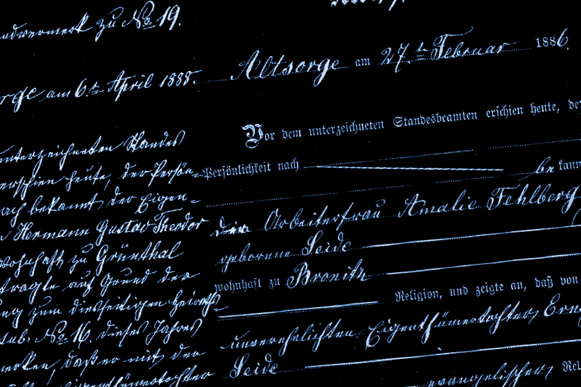 Ausschnitt einer Geburtsurkunde, hier Emma Elisabeth Erdmuthe HERDER