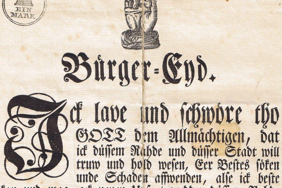 Hamburger Bürgereid 945x630 - Prickett, Killea, Hamburger Bürgereid, Hamburger Bürger-Eyd, Hamburg, 1843