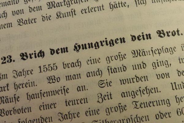 Paul Biens Brich dem Hungrigen dein Brot 600x400 - Silbergroschen, Schlangenbiss, Neumark, Mäuseplage, Erntesegen, Edelfrau, 16. Jahrhundert