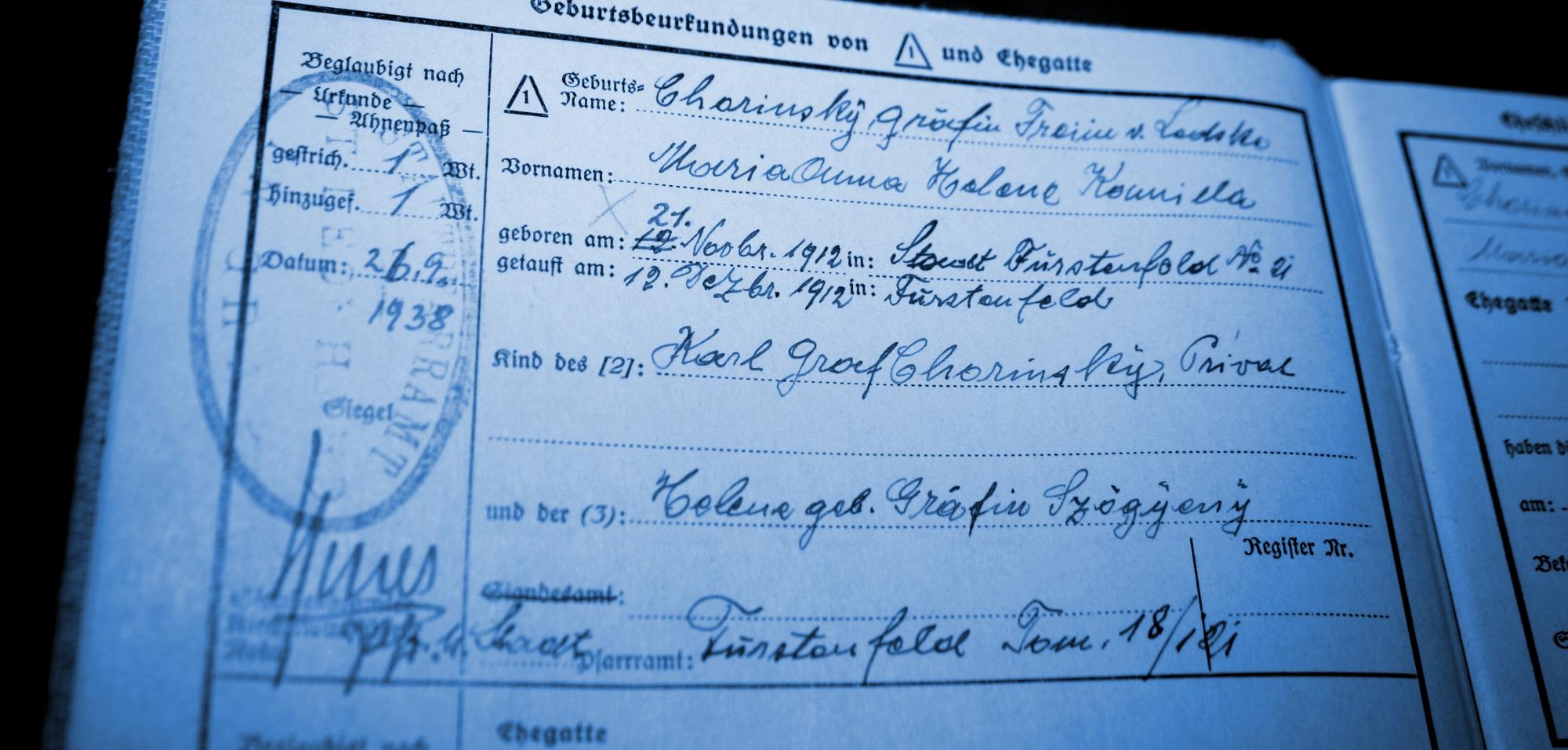 CHORINSKY VON LEDSKE GI - Wien, von Wrbna und Freudenthal, von Liechtenstein, von Ledske, von Fürstenberg, Ungarn, Trauttmansdorff-Weinsberg, Thurn und Taxis, Szögyeny-Marich, Stuhlweißenburg, Stuhlweiß, Steiermark, Slowakei, Schloss Veseli, Schemnitz, Sachsen, Rumänien, Roznnava, Rosenau, Regensburg, Pasztony, Obermeidling, Meidling, Marich, Maramuresch, Krey, Geramb, Fürstenfeld, Frauenbach, Esterhazy, Dulovitz, Dulovier, de Galantha, Chorinsky, Chemnitz, Budapest, Brünn, Berlin, Bayern, Baia Mare, Alservorstadt, Ahnenreihe, Adelsforschung