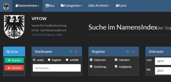 Titel Datenbank VFFOW 1 600x287 - Westpreußen, VFFOW, Ostpreußen, Datenbank, Clemens Draschba, Bernhard Ostrzinski