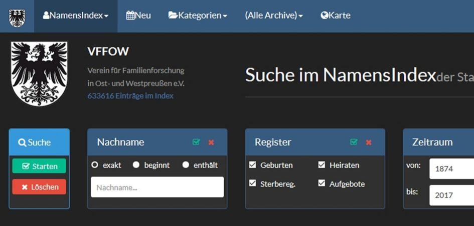 Titel Datenbank VFFOW 1 945x452 - Westpreußen, VFFOW, Ostpreußen, Datenbank, Clemens Draschba, Bernhard Ostrzinski