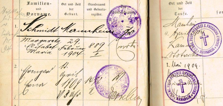 Ahnenforschung Schmidt Mannheim 945x452 - Wicke, Schmidt, Schlossermeister, Rheinland-Pfalz, Neun, Mannheim, Hofgeismar, Hessen, Hanau, Gelnhausen, Fuß-Gendarme, Friedens-Kirche-Mannheim, Flach, Birstein, 1909, 1904, 1894, 1870