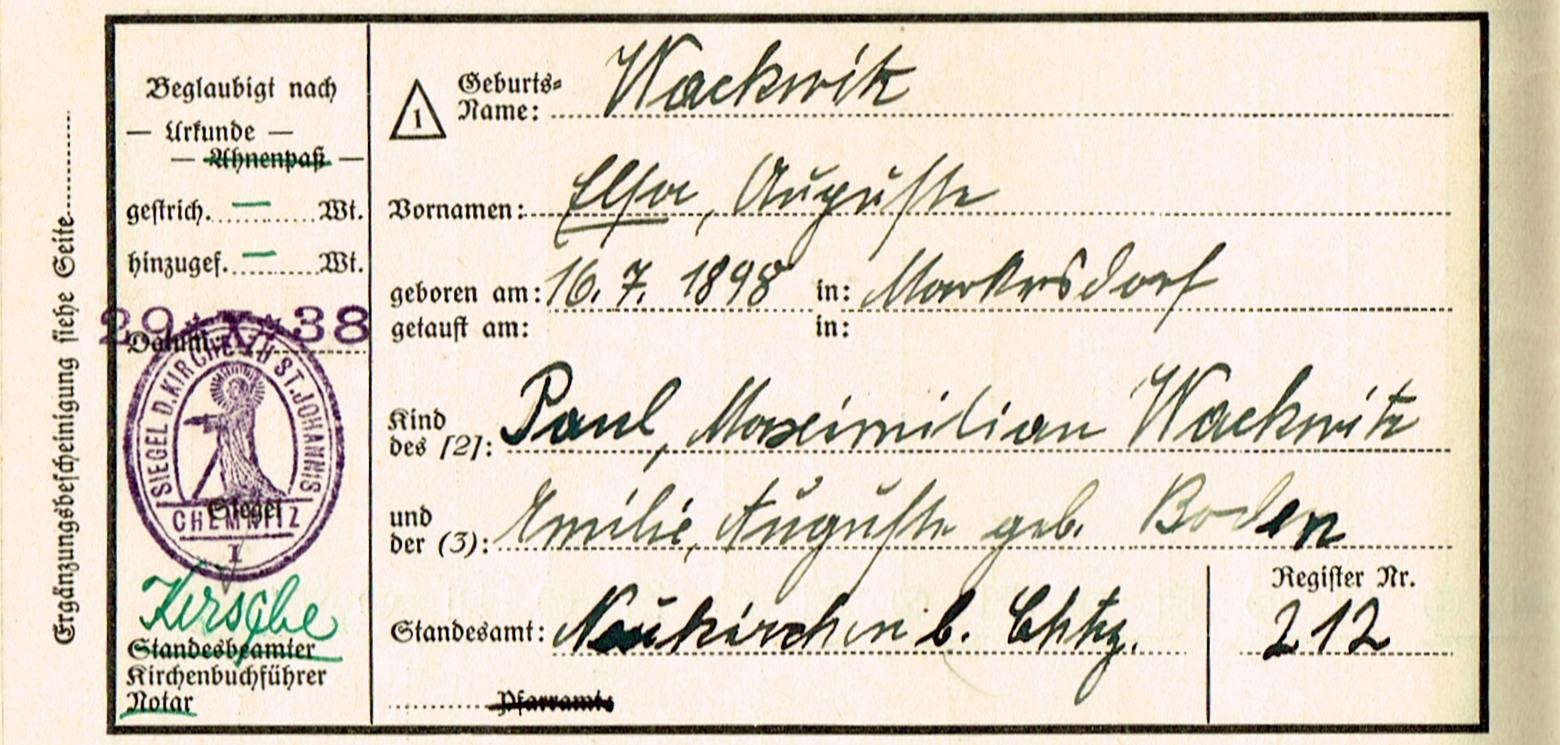 Ahnenreihe Wackwitz Markersdorf - Zimmermann, Wackwitz, Teich, Schulze, Schankwirtschaftsbesitzer, Schachtmeister, Sachsen, Rüdersdorf bei Naundorf, Polenz bei Neustadt, Naundorf, Mückenberg, Mittweida, Markersdorf, Löbner, Lantzsch, Kundler, Herzog, Händler, Handarbeiter, Haberkorn, Großharthau, Greifendorf, Goldbach, Freudenberg, Eckardt, Chemnitz, Brückner, Boden, Ahnenreihe, 1950, 1938, 1923, 1920, 1916, 1898, 1887, 1874, 1869, 1852, 1850, 1846, 1845, 1843, 1824, 1823, 1810