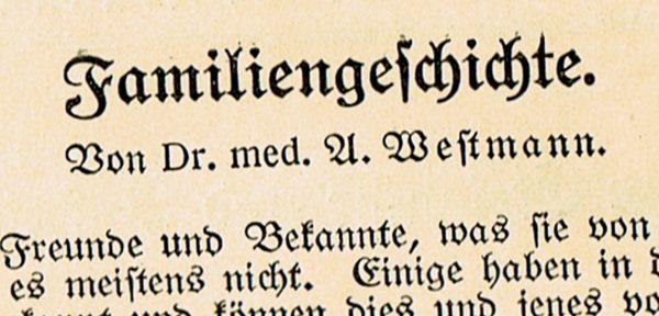 Dr Westmann Familiengeschichte 600x288 - Westmann, Familiengeschichte, 1924