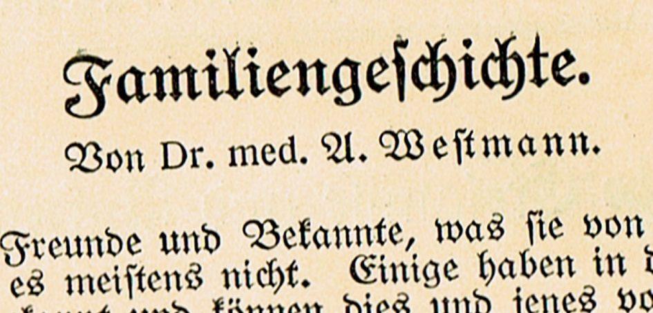 Dr Westmann Familiengeschichte 945x453 - Westmann, Familiengeschichte, 1924