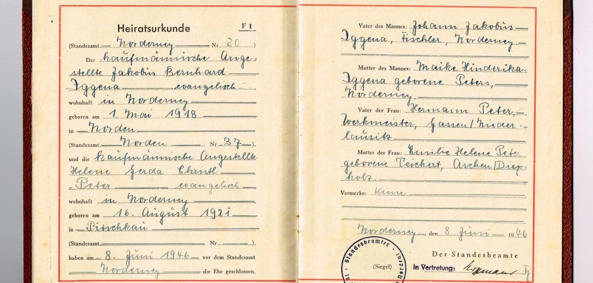 Stammbuch Iggena Peter - Werkmeister, Tischler, Teichert, Sorau, Pitschkau, Peters, Peter, Norderney, Niedersachsen, Niederlausitz, Neumark, kaufmännischer Angestellter, Iggene, Gassen, Diepholz, Aschen, 1946, 1921, 1918