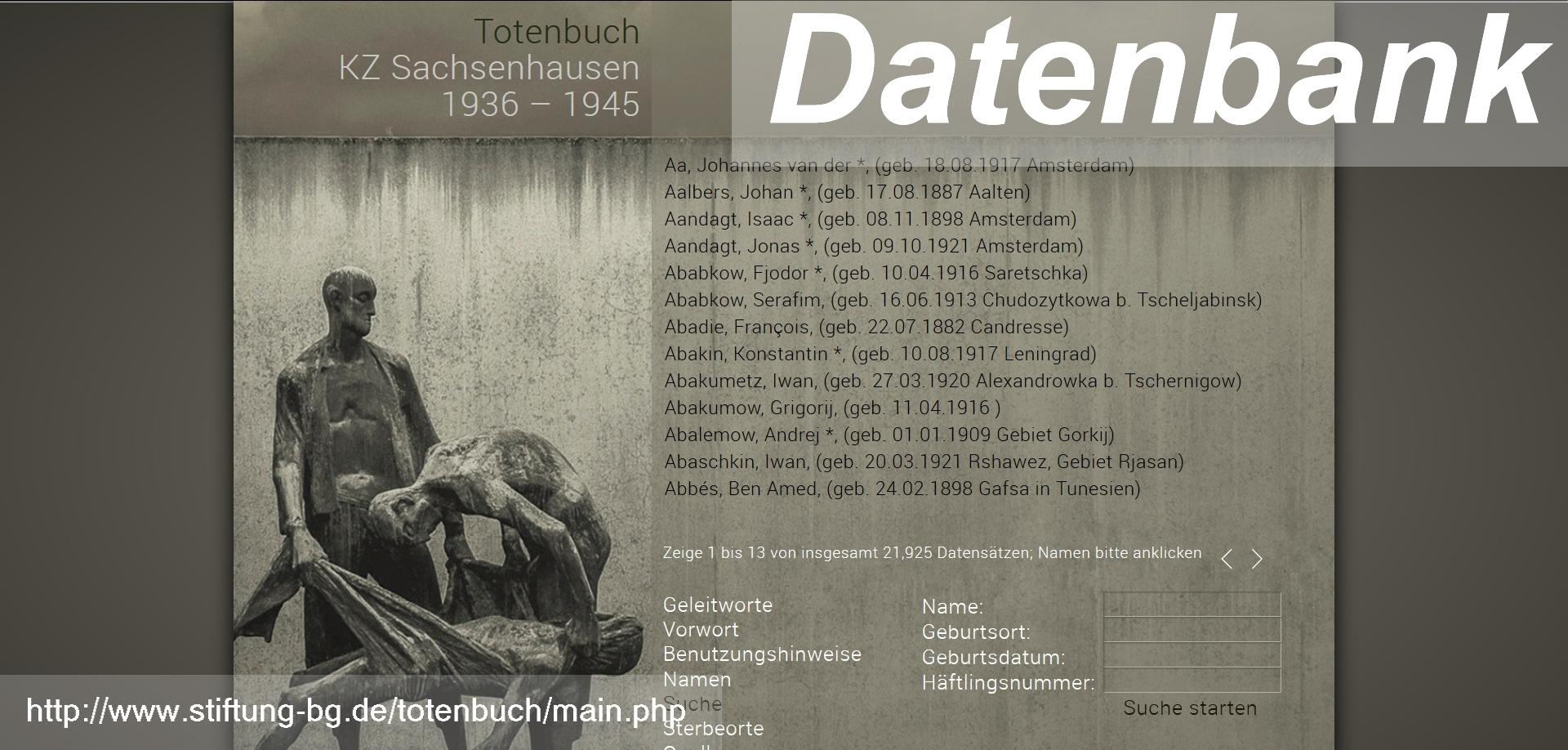 Totenbuch KZ Sachsenhausen 1936 1945 genealogie.digital 1 - Stiftung Brandenburgische Gedenkstätten, Roger Bordage, Pierre Gouffault, Opfer des Nationalsozialismus, Nationalsozialistische Deutsche Arbeiterpartei, Konzentrationslager, Gedenkstätte und Museum Sachsenhausen