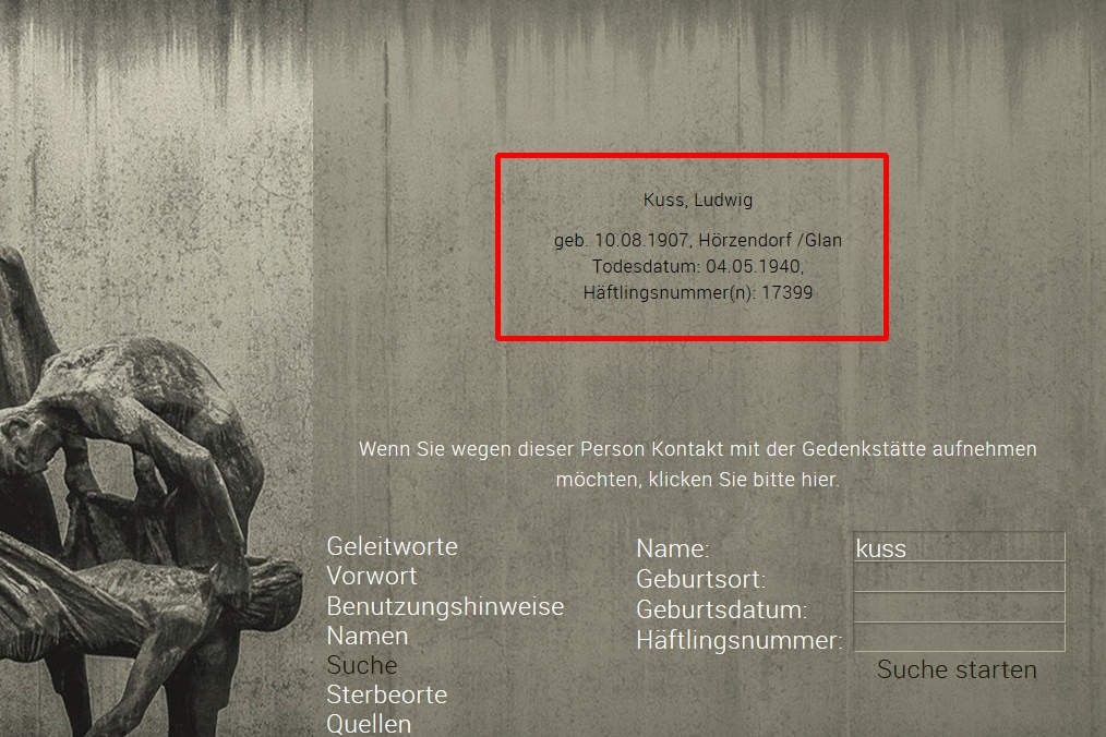 Totenbuch KZ Sachsenhausen Ergebnis Namensuche - Stiftung Brandenburgische Gedenkstätten, Roger Bordage, Pierre Gouffault, Opfer des Nationalsozialismus, Nationalsozialistische Deutsche Arbeiterpartei, Konzentrationslager, Gedenkstätte und Museum Sachsenhausen