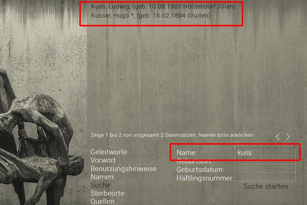 Totenbuch KZ Sachsenhausen Suche nach Namen - Stiftung Brandenburgische Gedenkstätten, Roger Bordage, Pierre Gouffault, Opfer des Nationalsozialismus, Nationalsozialistische Deutsche Arbeiterpartei, Konzentrationslager, Gedenkstätte und Museum Sachsenhausen