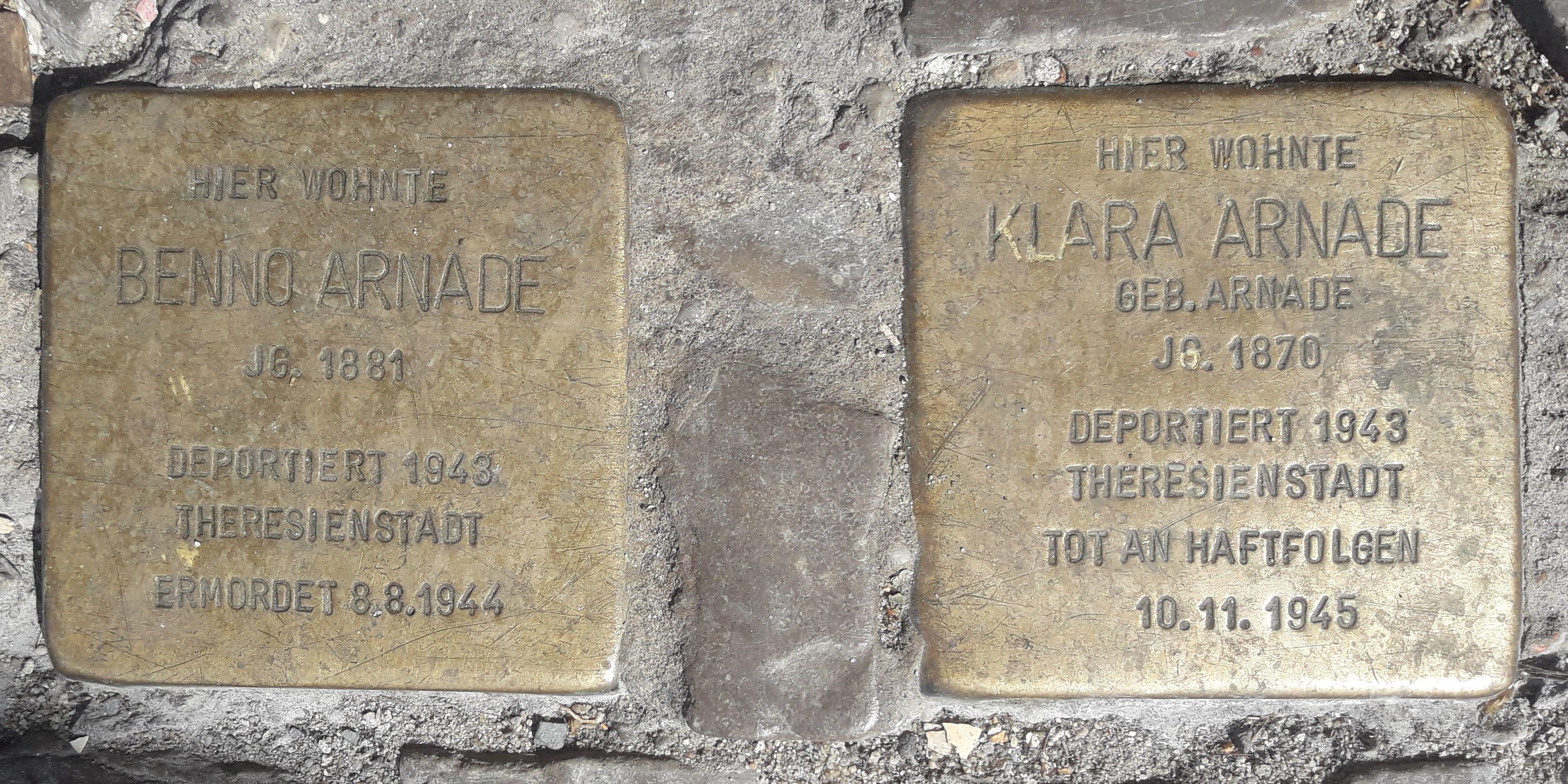 Stolperstein Arnade Berlin - Theresienstadt, Stolperstein, Schlesien, Kosel, Breslau, Berlin, Arnade, 1945, 1943, 1881, 1870