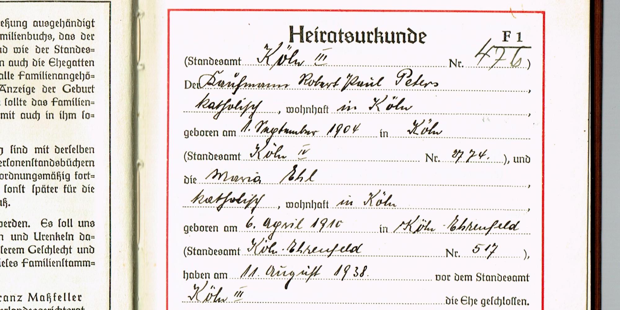 Ahnenforschung Peters Ehl Köln - Peters, Müller, Köln, Ehl, 1938, 1910, 1904